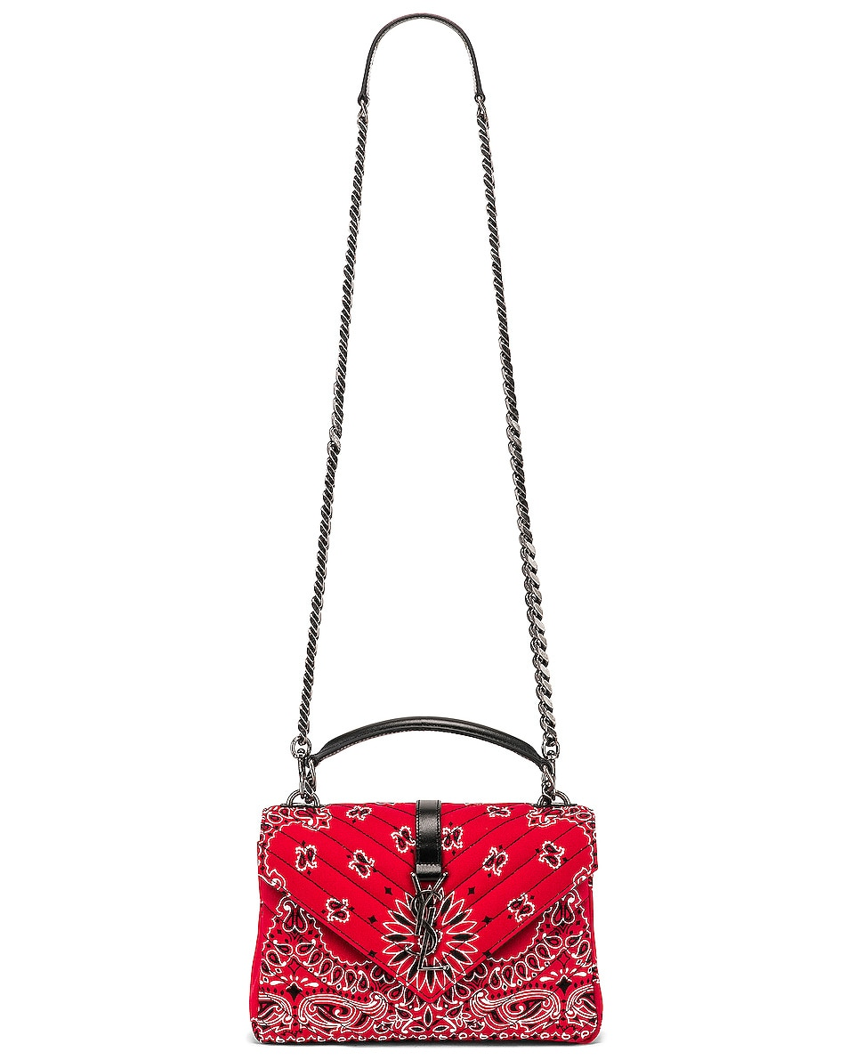 Image 6 of Saint Laurent Medium Monogramme College Bag in Red & White & Black