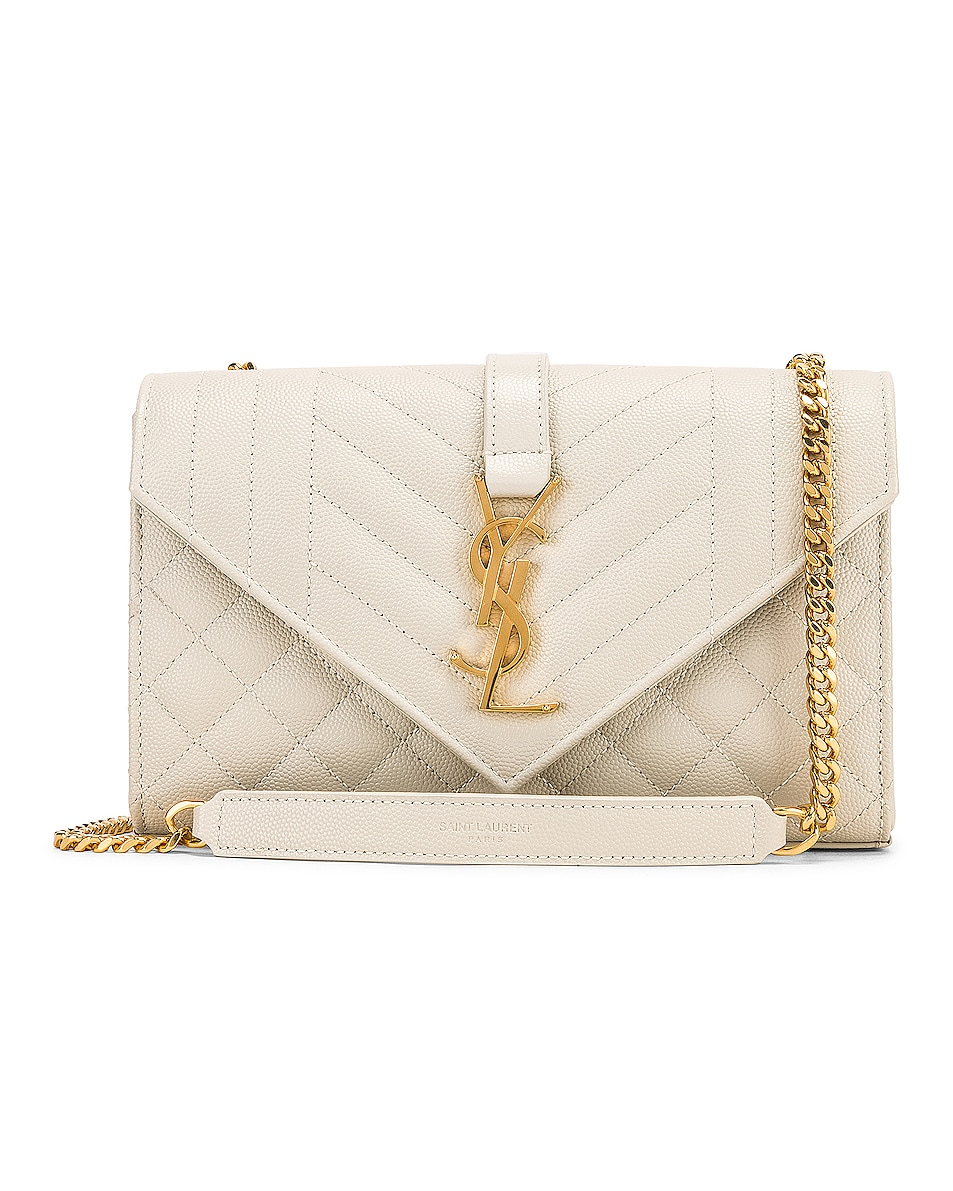 Image 1 of Saint Laurent Small Monogramme Envelope Chain Bag in Blanc Vintage
