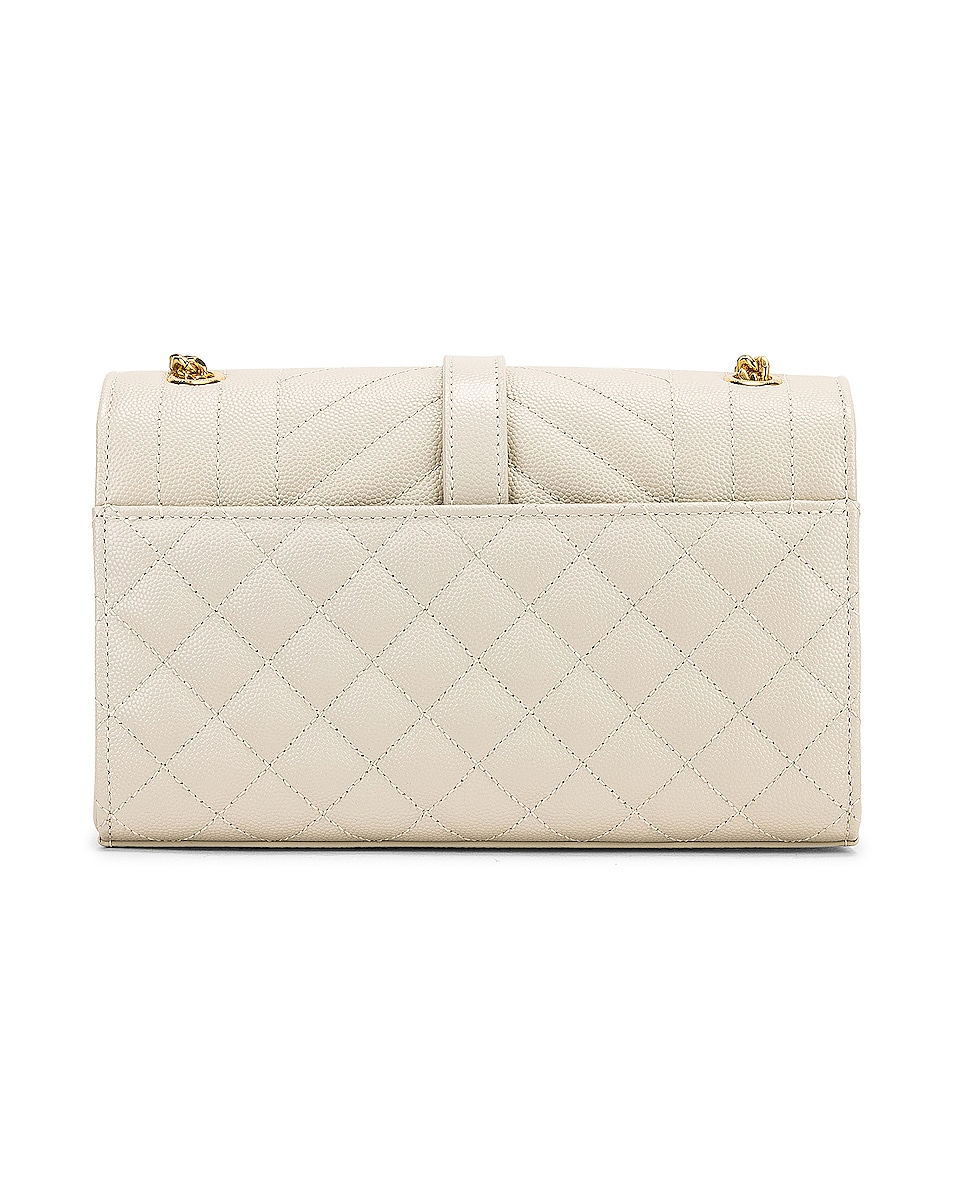 Image 3 of Saint Laurent Small Monogramme Envelope Chain Bag in Blanc Vintage