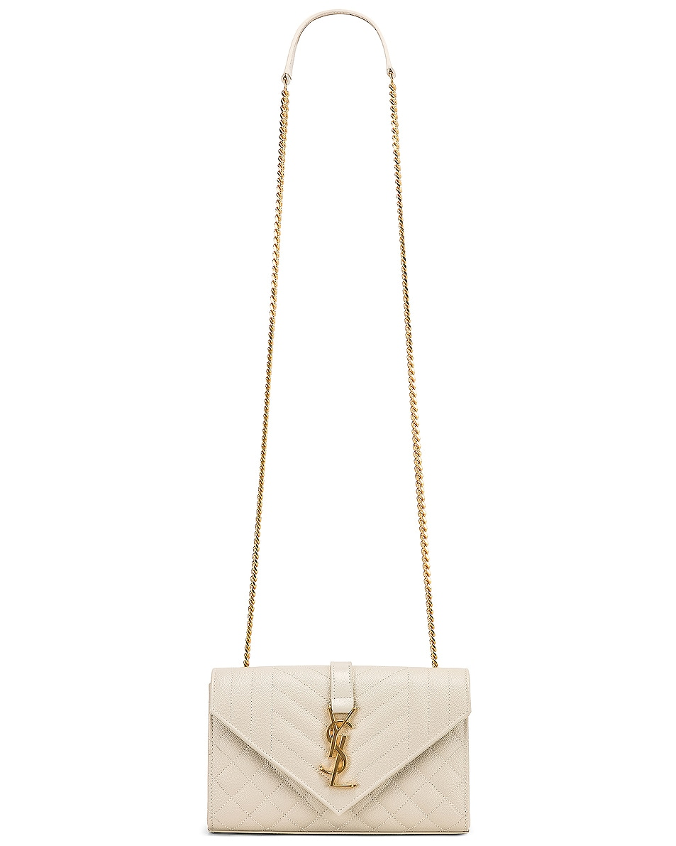 Image 6 of Saint Laurent Small Monogramme Envelope Chain Bag in Blanc Vintage
