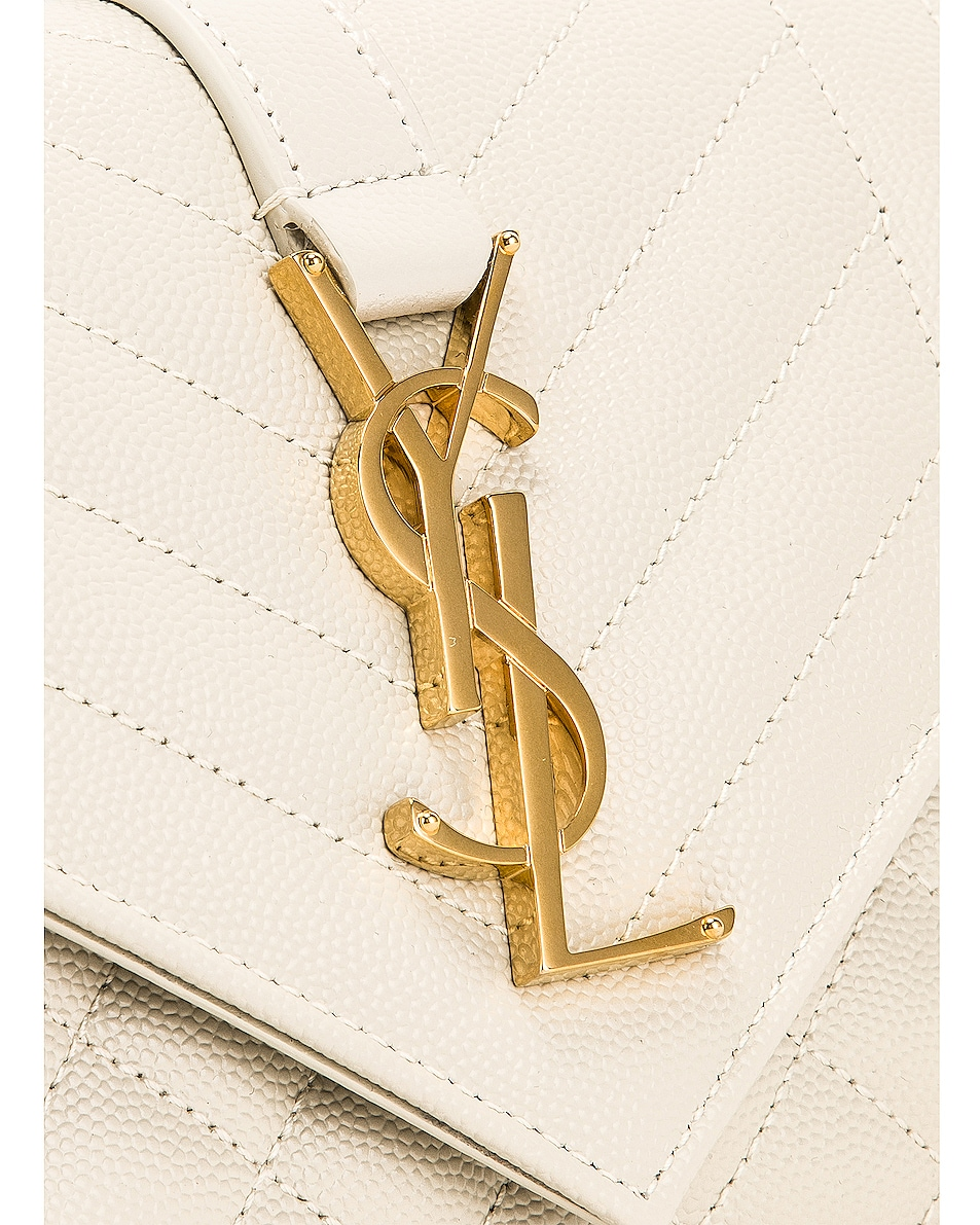 Image 7 of Saint Laurent Small Monogramme Envelope Chain Bag in Blanc Vintage
