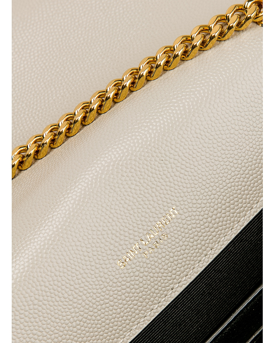 Image 8 of Saint Laurent Small Monogramme Envelope Chain Bag in Blanc Vintage