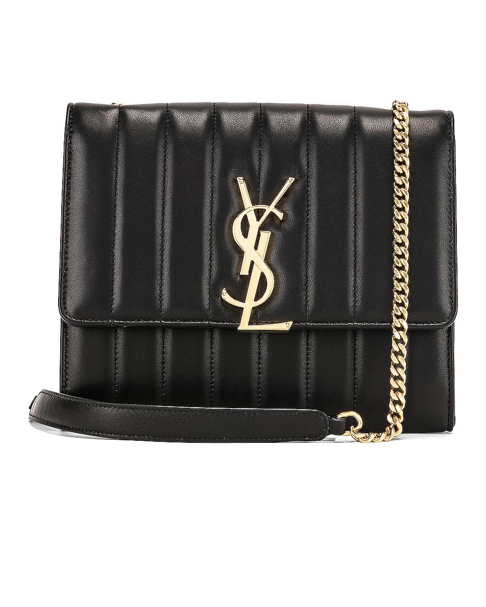 Image 1 of Saint Laurent Vicky Chain Wallet Bag in Black