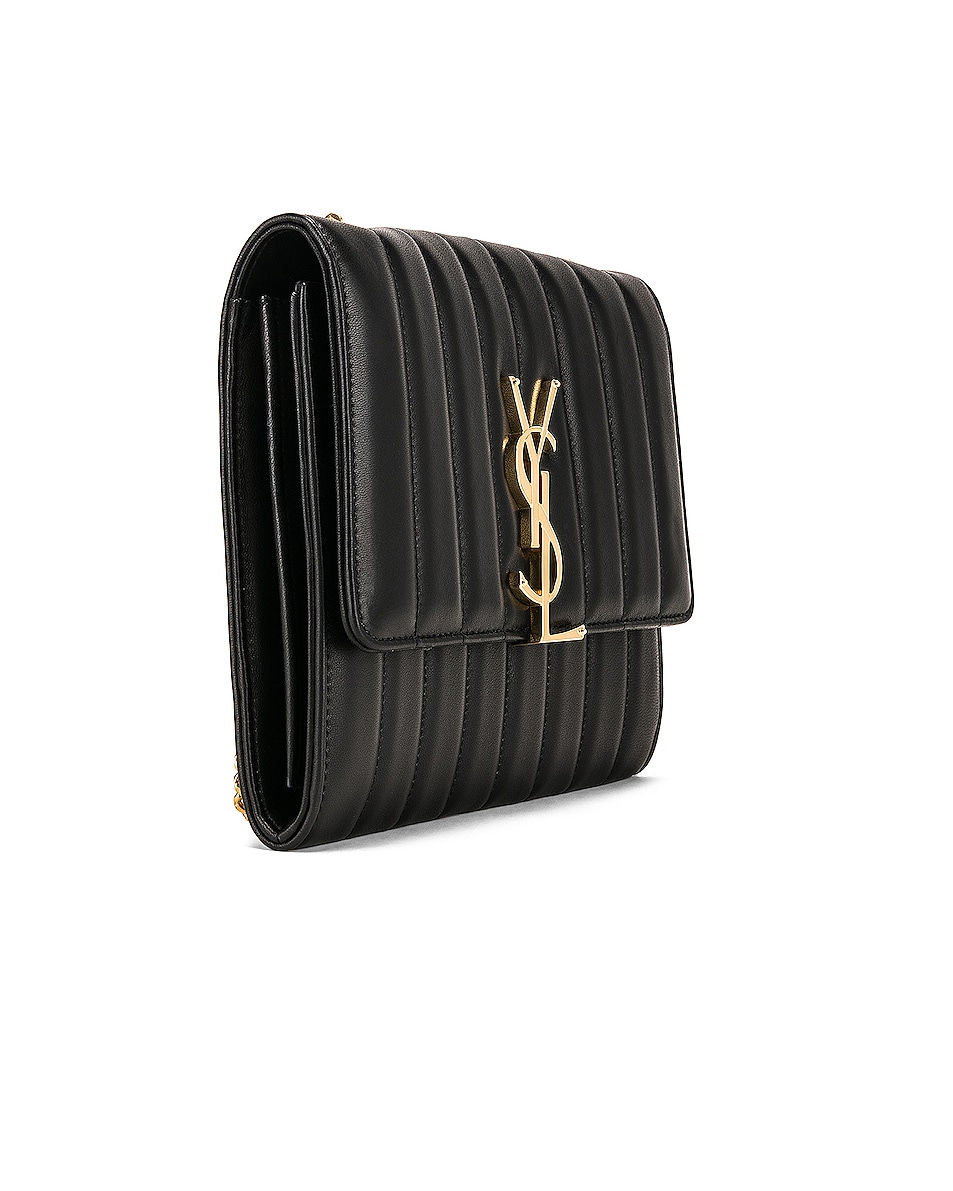 Image 4 of Saint Laurent Vicky Chain Wallet Bag in Black