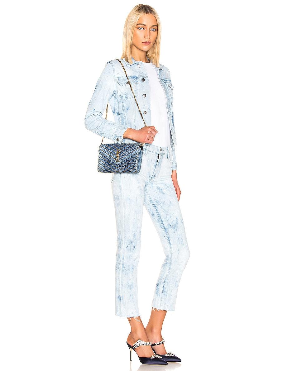 Image 2 of Saint Laurent Denim Chain Wallet in Blue Jeans & Black