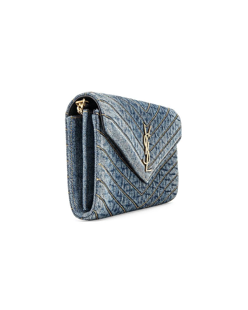 Image 4 of Saint Laurent Denim Chain Wallet in Blue Jeans & Black