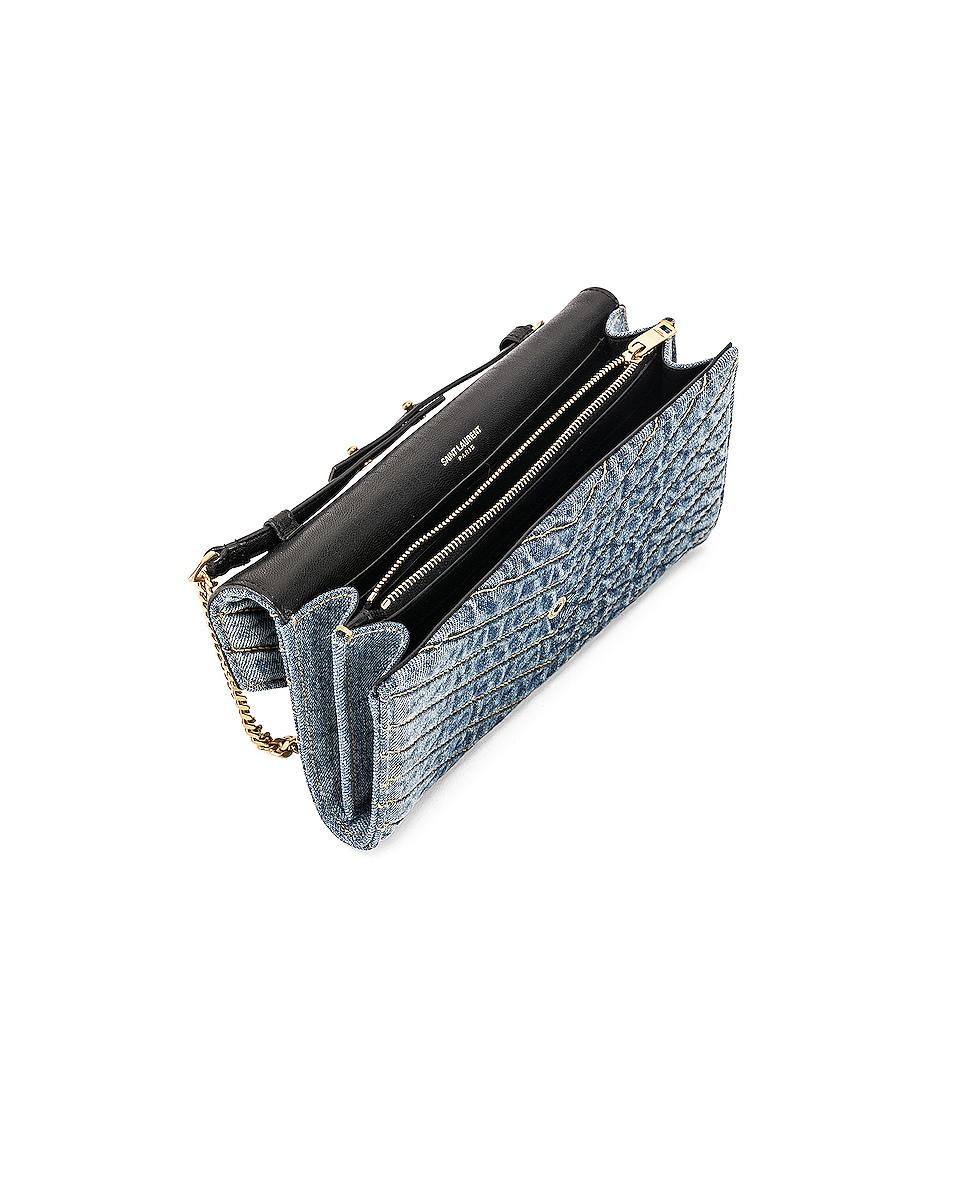 Image 5 of Saint Laurent Denim Chain Wallet in Blue Jeans & Black