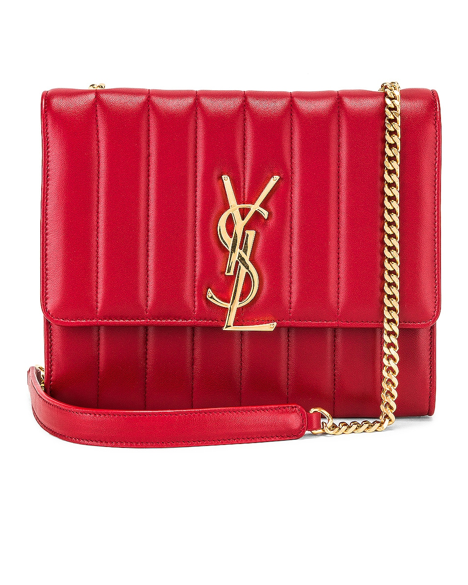 Image 1 of Saint Laurent Vicky Chain Wallet Bag in Rouge Eros