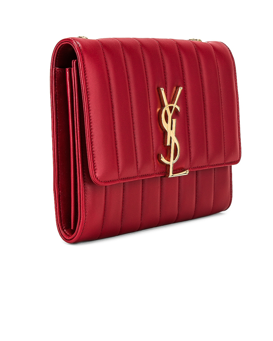 Image 4 of Saint Laurent Vicky Chain Wallet Bag in Rouge Eros
