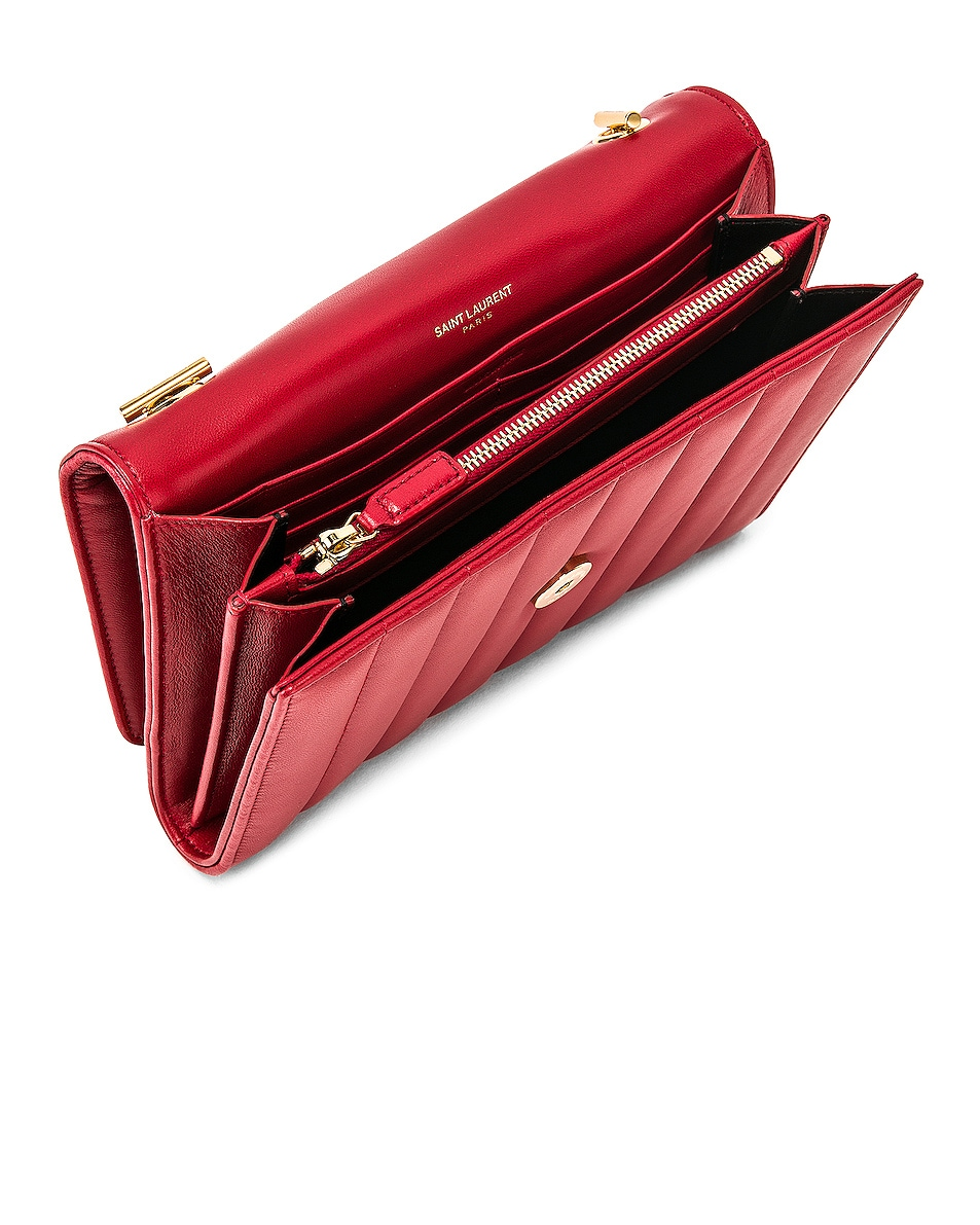Image 5 of Saint Laurent Vicky Chain Wallet Bag in Rouge Eros