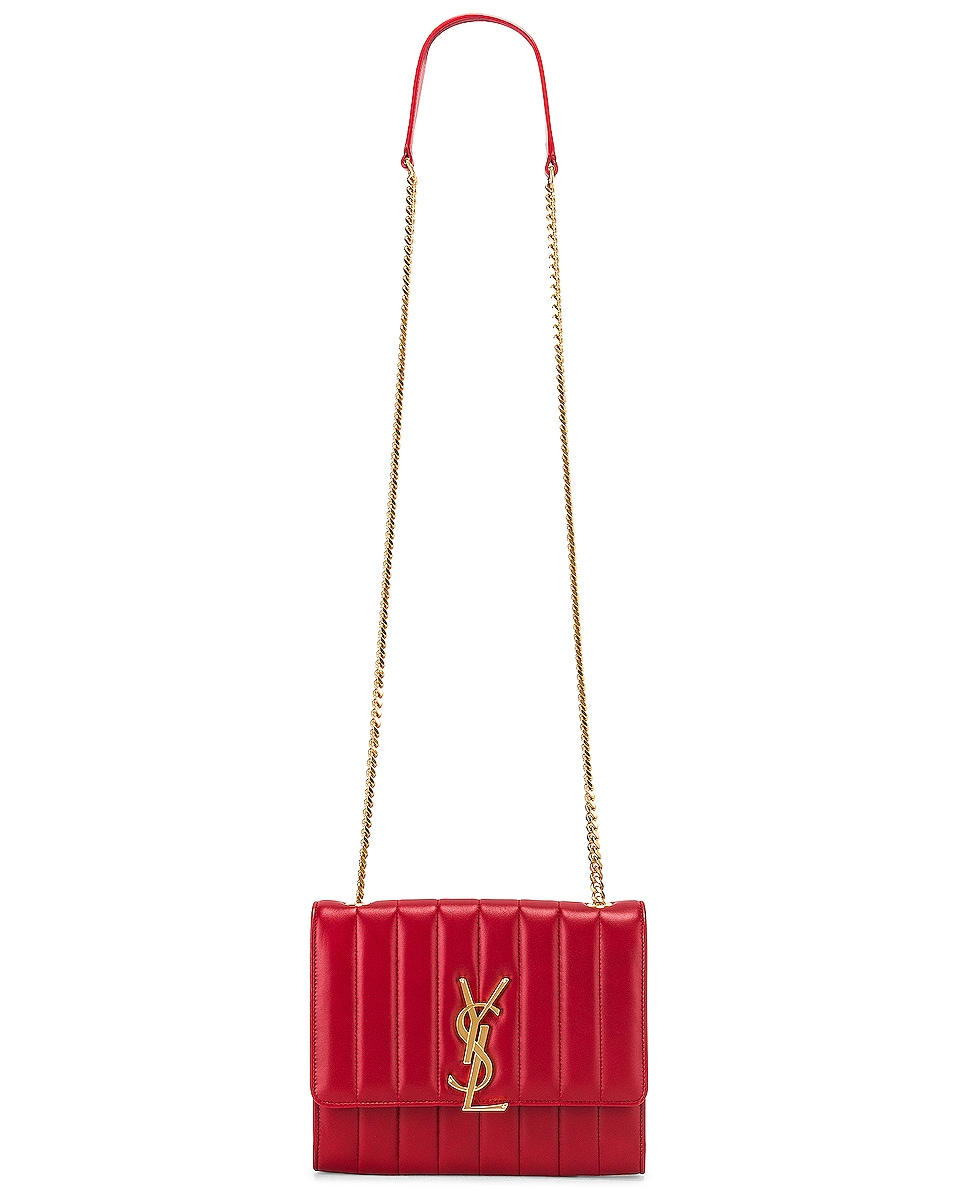 Image 6 of Saint Laurent Vicky Chain Wallet Bag in Rouge Eros