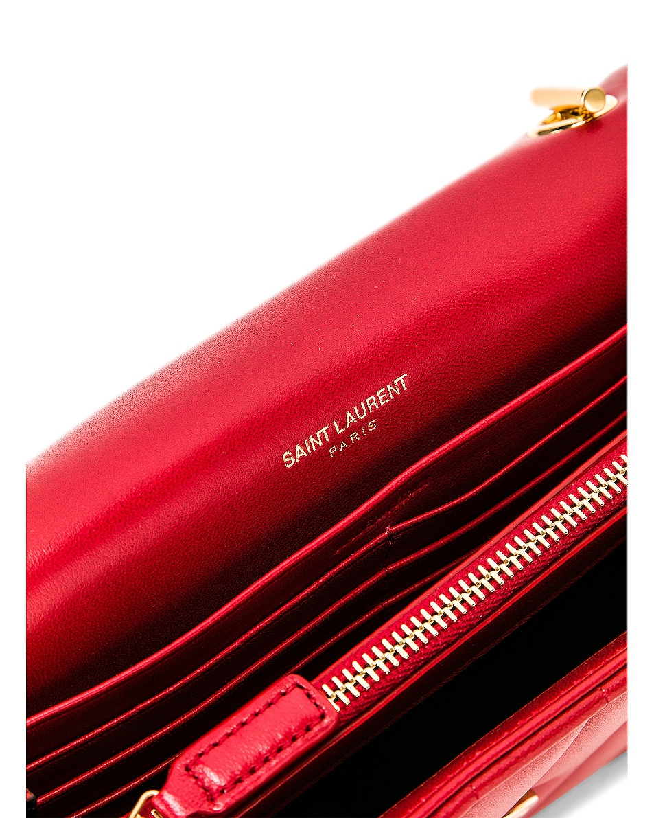 Image 7 of Saint Laurent Vicky Chain Wallet Bag in Rouge Eros