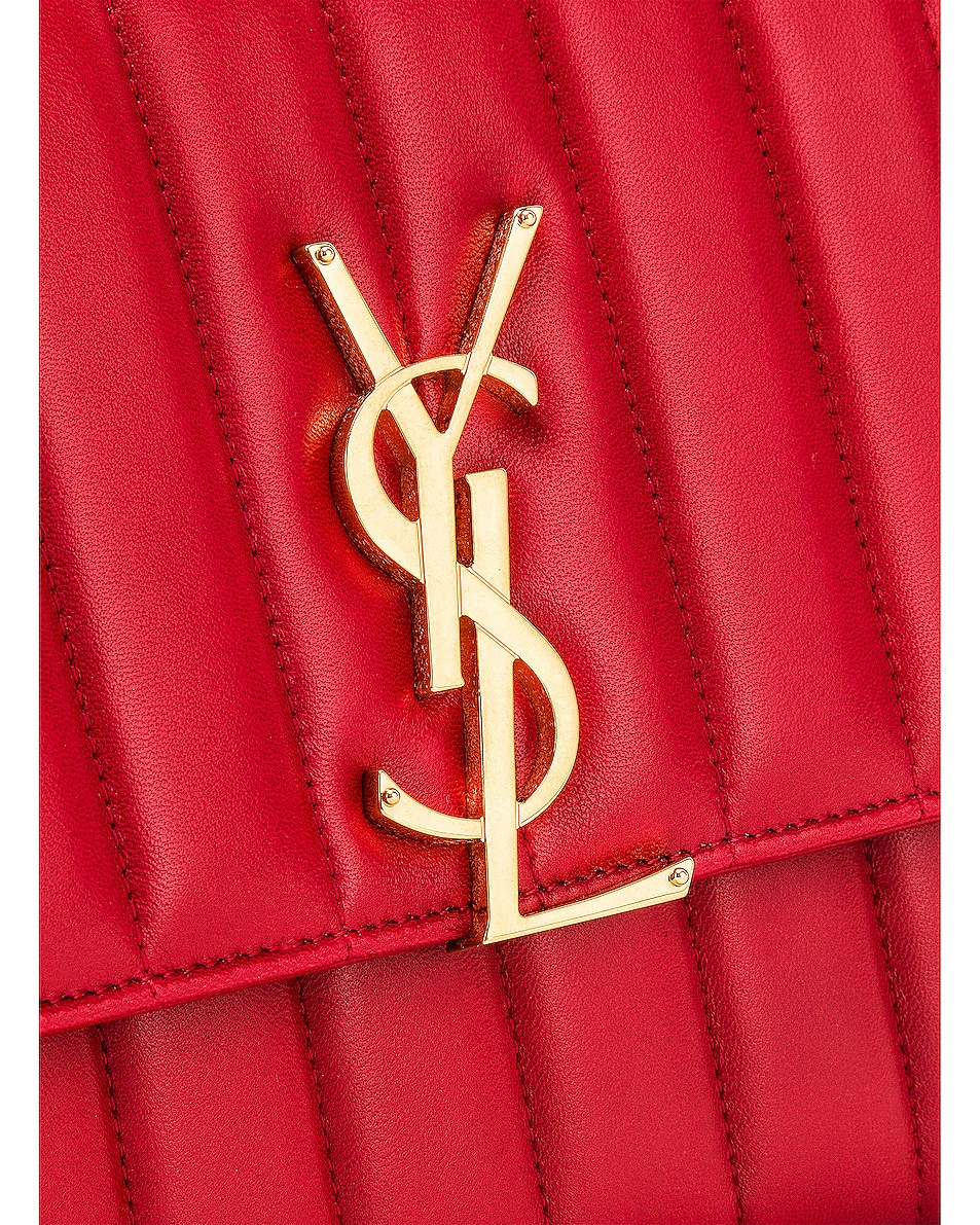 Image 8 of Saint Laurent Vicky Chain Wallet Bag in Rouge Eros