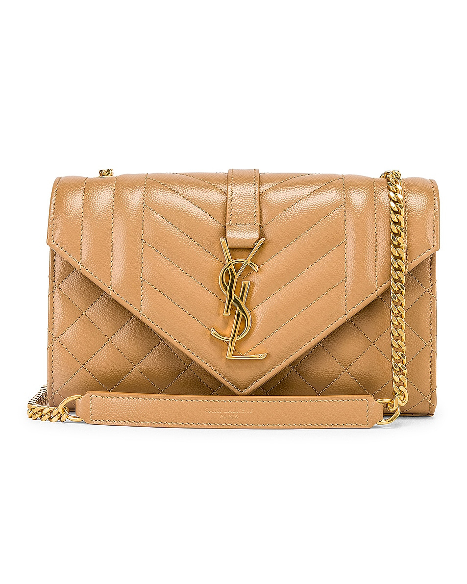 Image 1 of Saint Laurent Small Monogramme Envelope Chain Bag in Chene