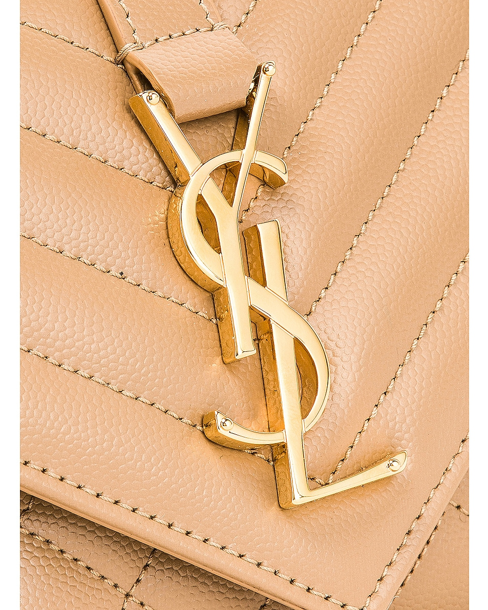 Image 8 of Saint Laurent Small Monogramme Envelope Chain Bag in Chene