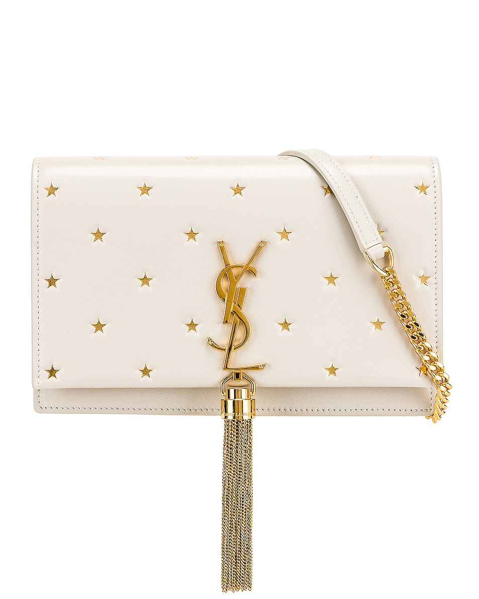 Image 1 of Saint Laurent Kate Monogramme Star Chain Wallet Bag in Blanc Vintage & Gold