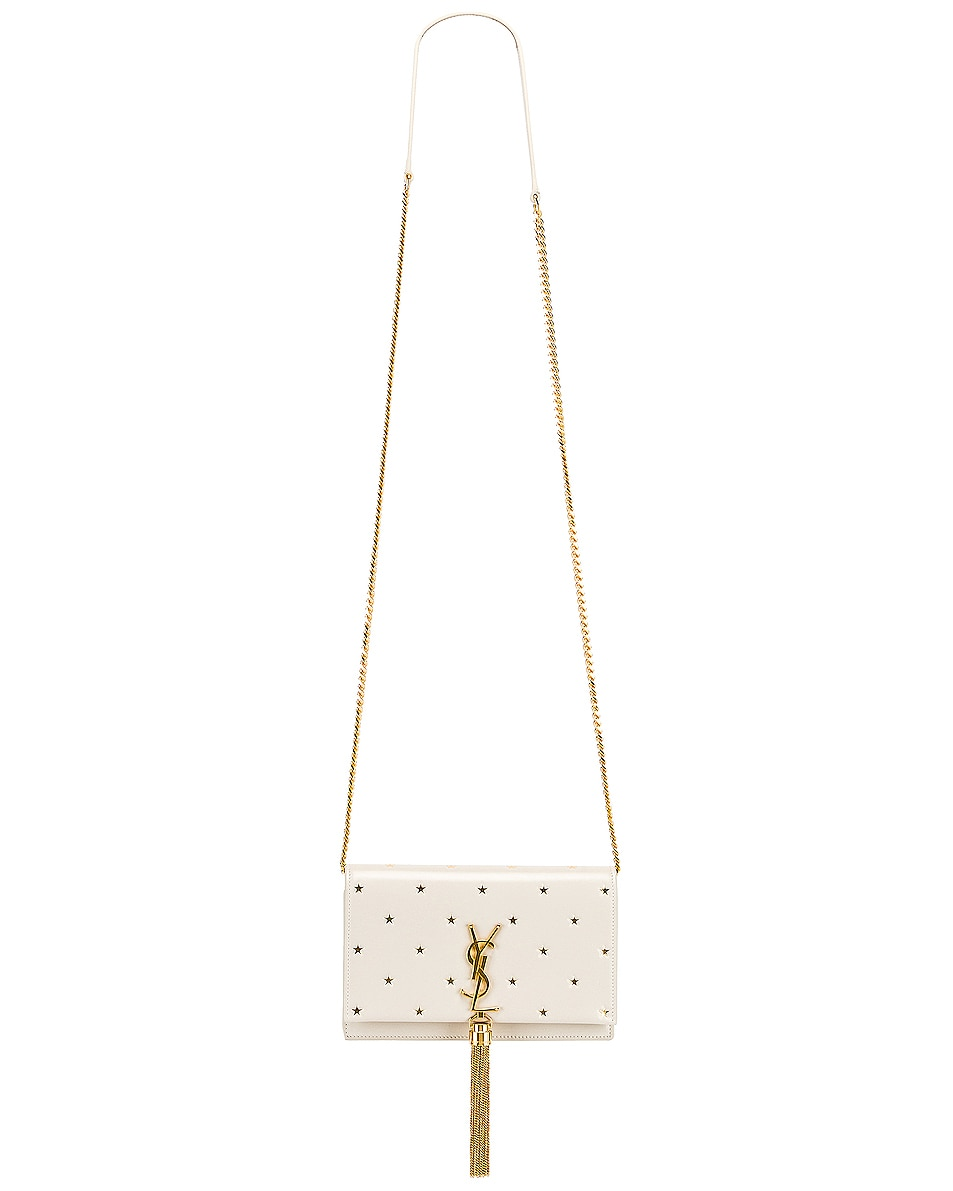 Image 6 of Saint Laurent Kate Monogramme Star Chain Wallet Bag in Blanc Vintage & Gold