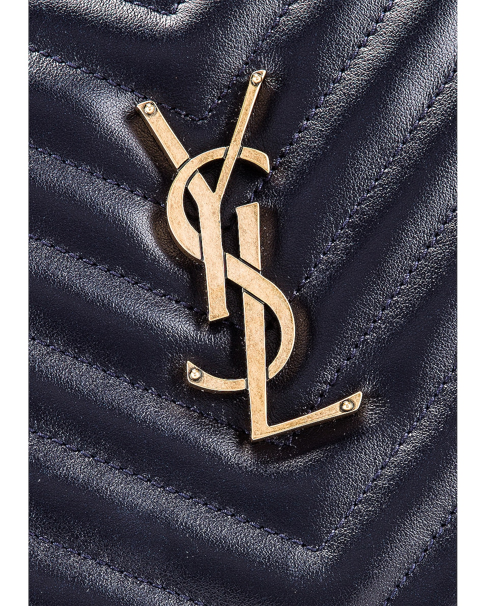 Image 8 of Saint Laurent Medium Monogramme Lou Satchel in Midnight Blue