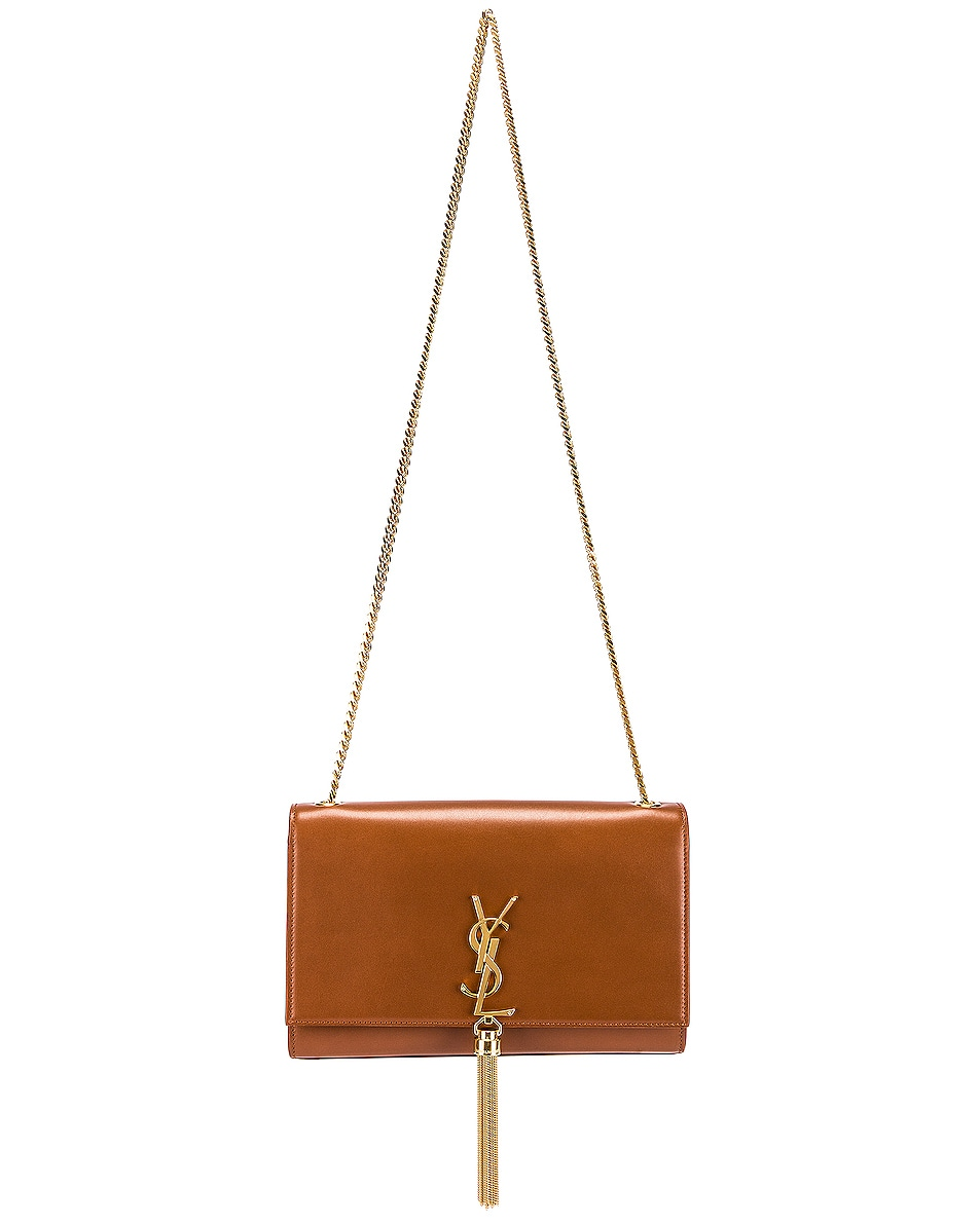Image 2 of Saint Laurent Medium Kate Monogramme Chain Tassel Bag in Brick