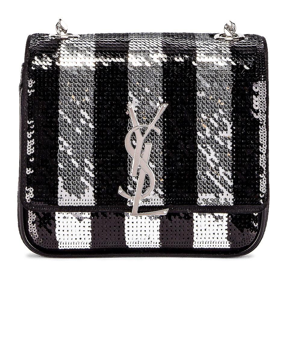 Image 1 of Saint Laurent Vicky Monogramme Stripe Bag in Black & Silver