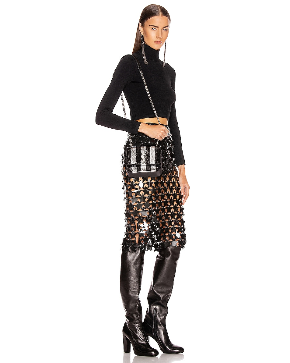Image 2 of Saint Laurent Vicky Monogramme Stripe Bag in Black & Silver