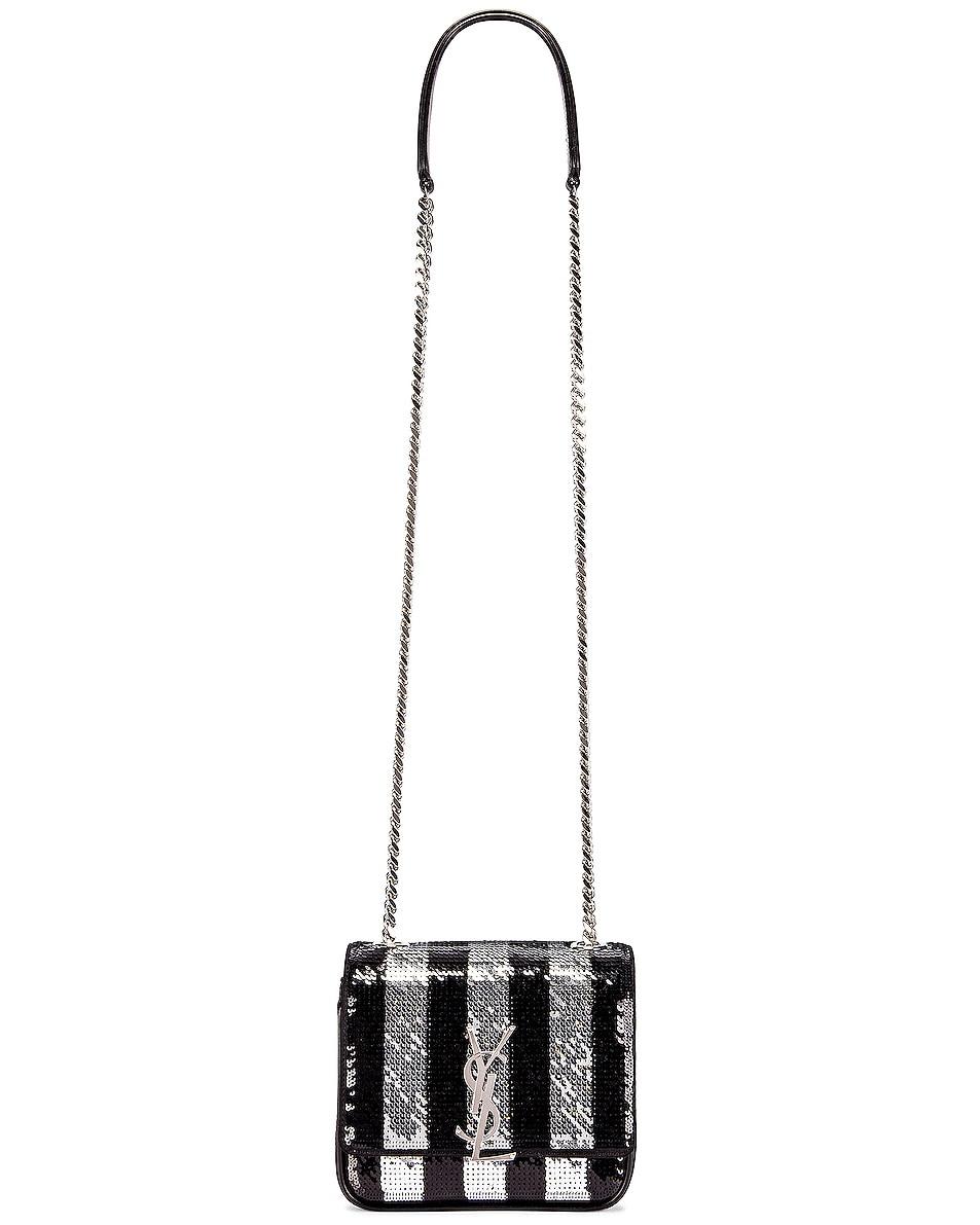 Image 3 of Saint Laurent Vicky Monogramme Stripe Bag in Black & Silver