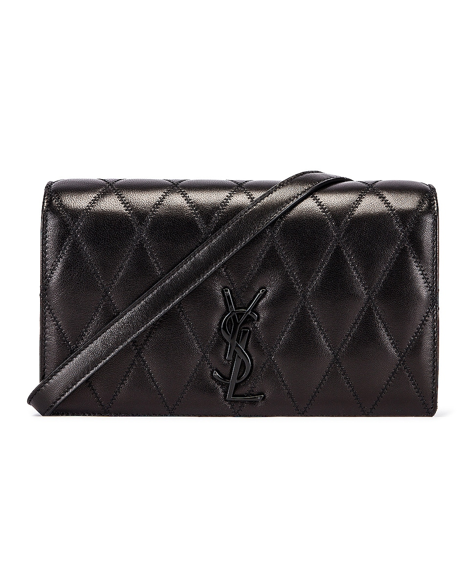 Image 1 of Saint Laurent Angie Monogramme Chain Bag in Black