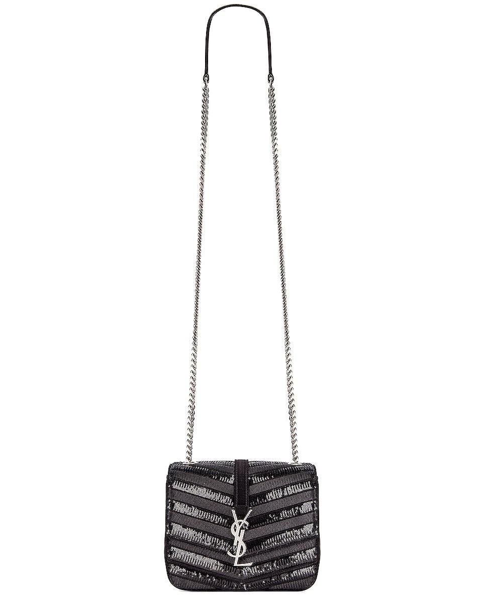 Image 3 of Saint Laurent Small Monogramme Bag in Black & Black