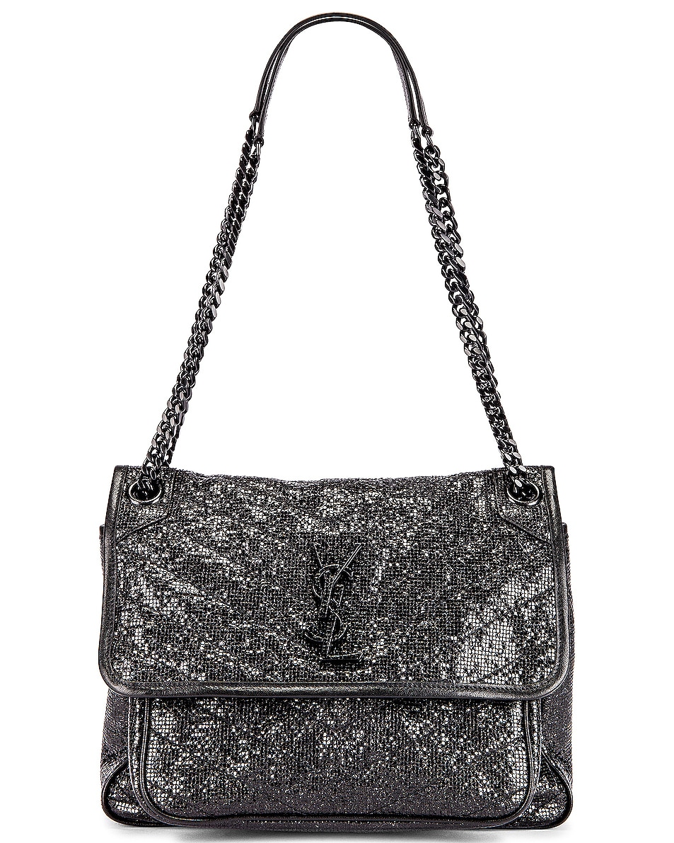Image 1 of Saint Laurent Niki Medium Monogramme Chain Bag in Black & Black