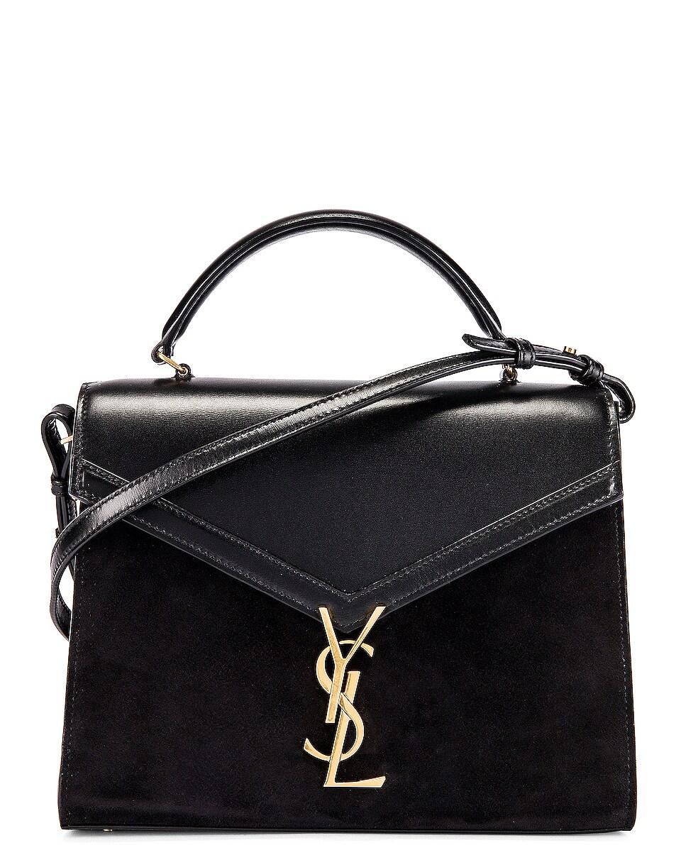 delicate Saint Laurent Cassandra Monogramme Bag Black & Rouge Legion
