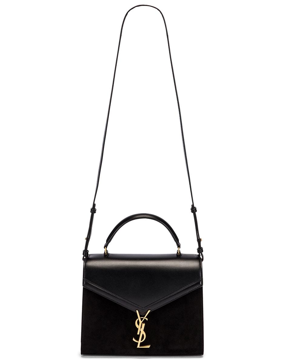 Image 6 of Saint Laurent Cassandra Monogramme Bag in Black & Rouge Legion