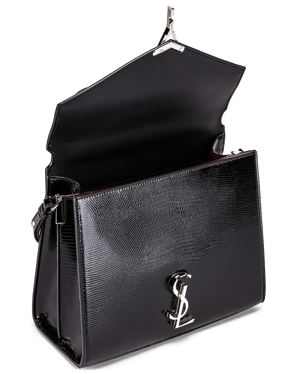 Image 5 of Saint Laurent Cassandra Monogramme Bag in Black & Rouge Legion