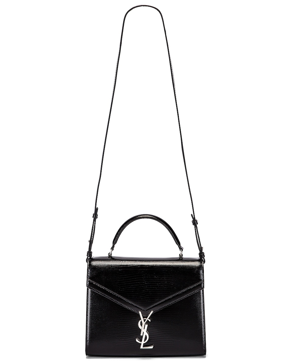 Image 6 of Saint Laurent Cassandra Monogramme Bag in Black & Rouge Legion