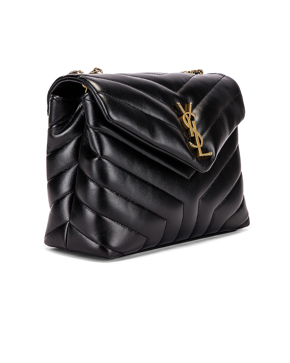 Image 4 of Saint Laurent Small Supple Monogramme Loulou Chain Bag in Black & Black