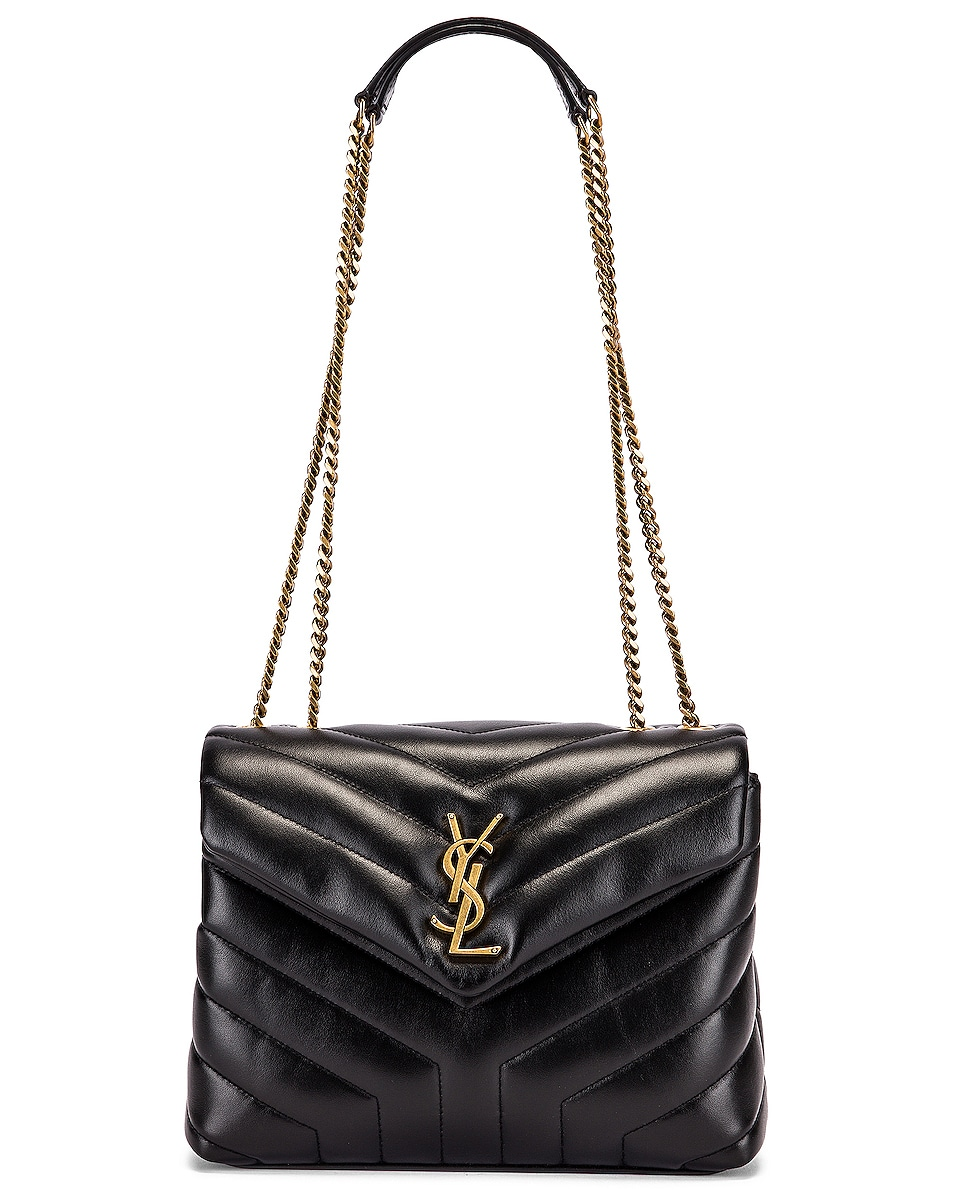 Image 6 of Saint Laurent Small Supple Monogramme Loulou Chain Bag in Black & Black