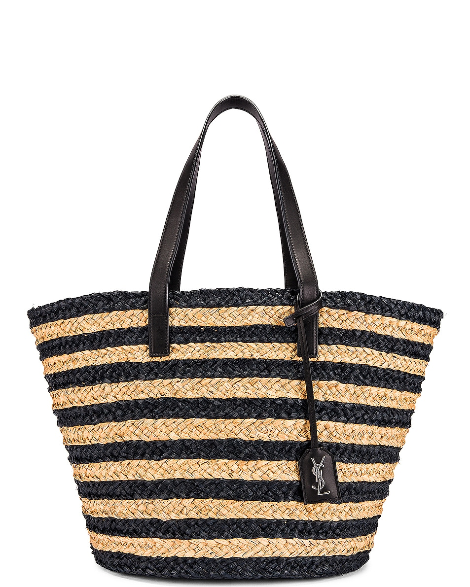 Image 1 of Saint Laurent Medium Panier Raffia Bag in Natural & Black