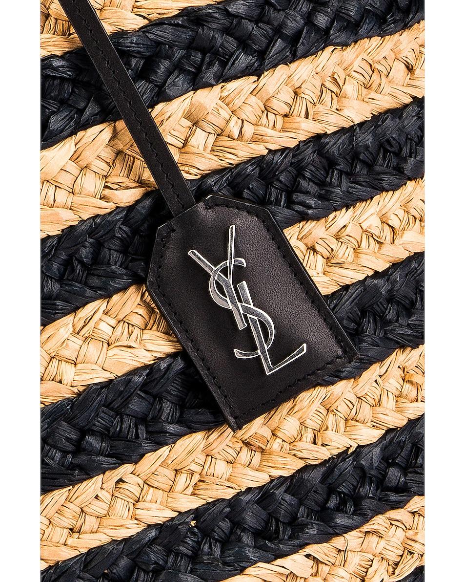 Image 2 of Saint Laurent Medium Panier Raffia Bag in Natural & Black