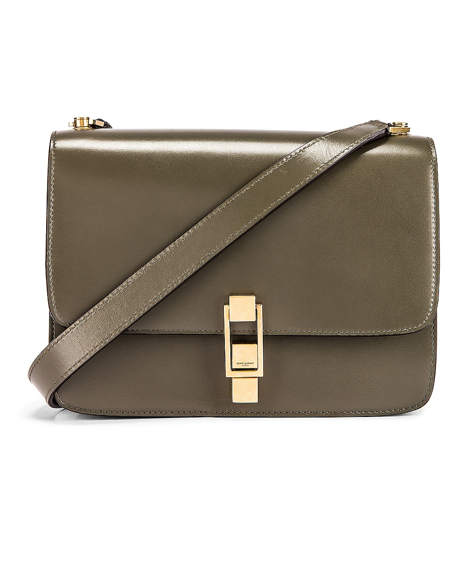 Image 1 of Saint Laurent Carre Bag in Military Olive & Dark Ebony