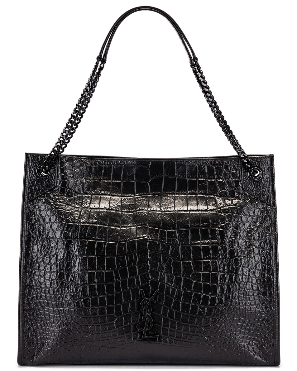 Image 1 of Saint Laurent Niki Monogramme Croc Shoulder Bag in Black