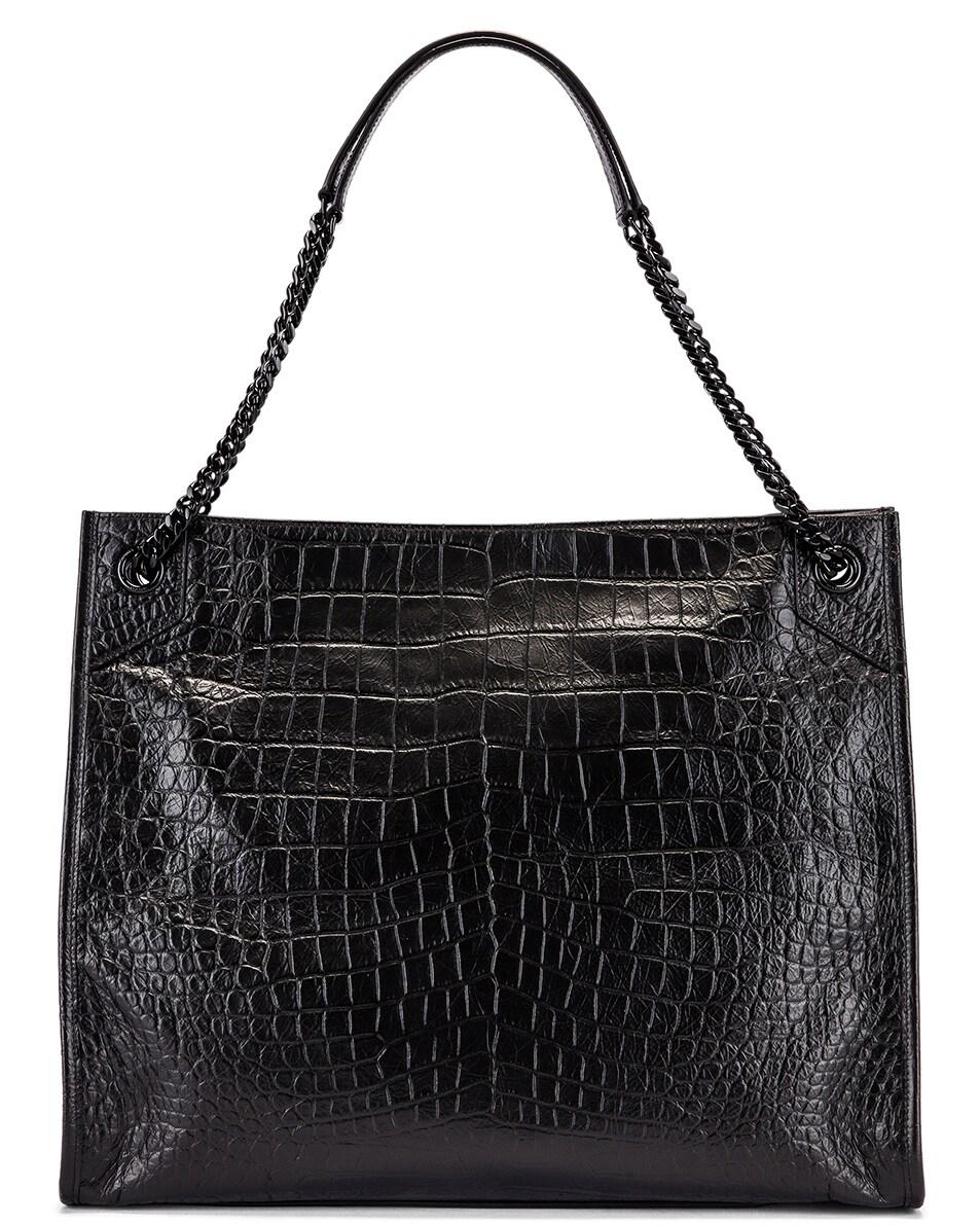 Image 3 of Saint Laurent Niki Monogramme Croc Shoulder Bag in Black