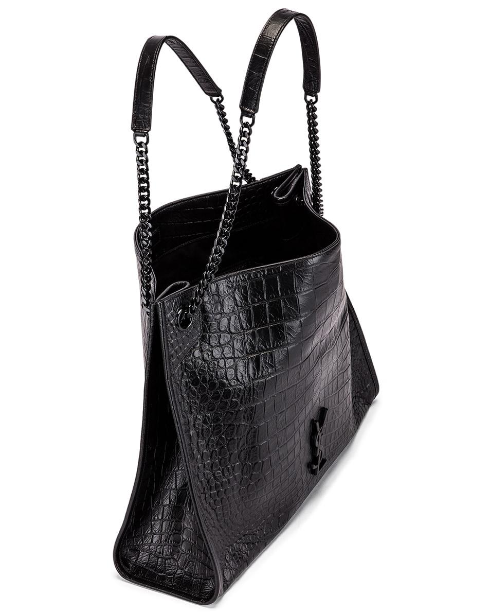 Image 5 of Saint Laurent Niki Monogramme Croc Shoulder Bag in Black