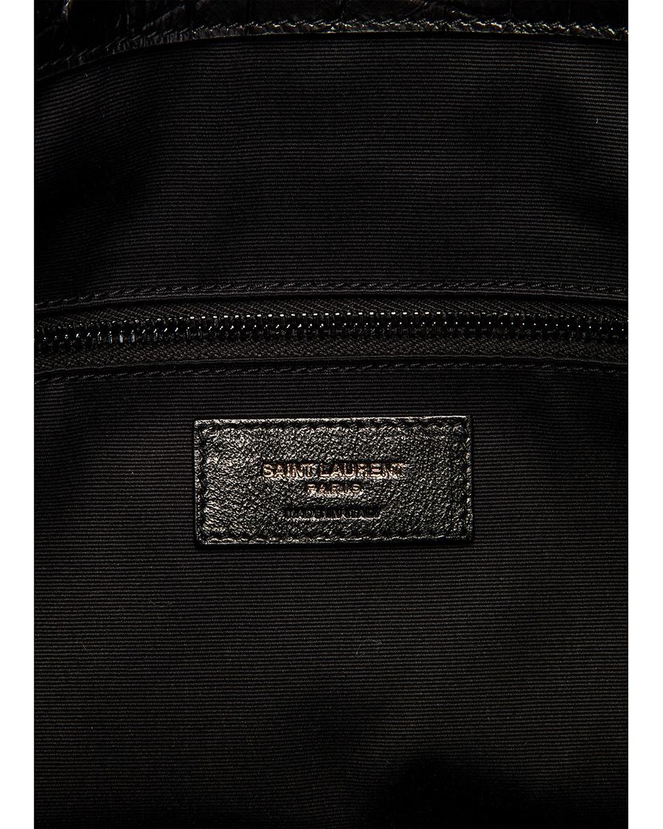 Image 6 of Saint Laurent Niki Monogramme Croc Shoulder Bag in Black