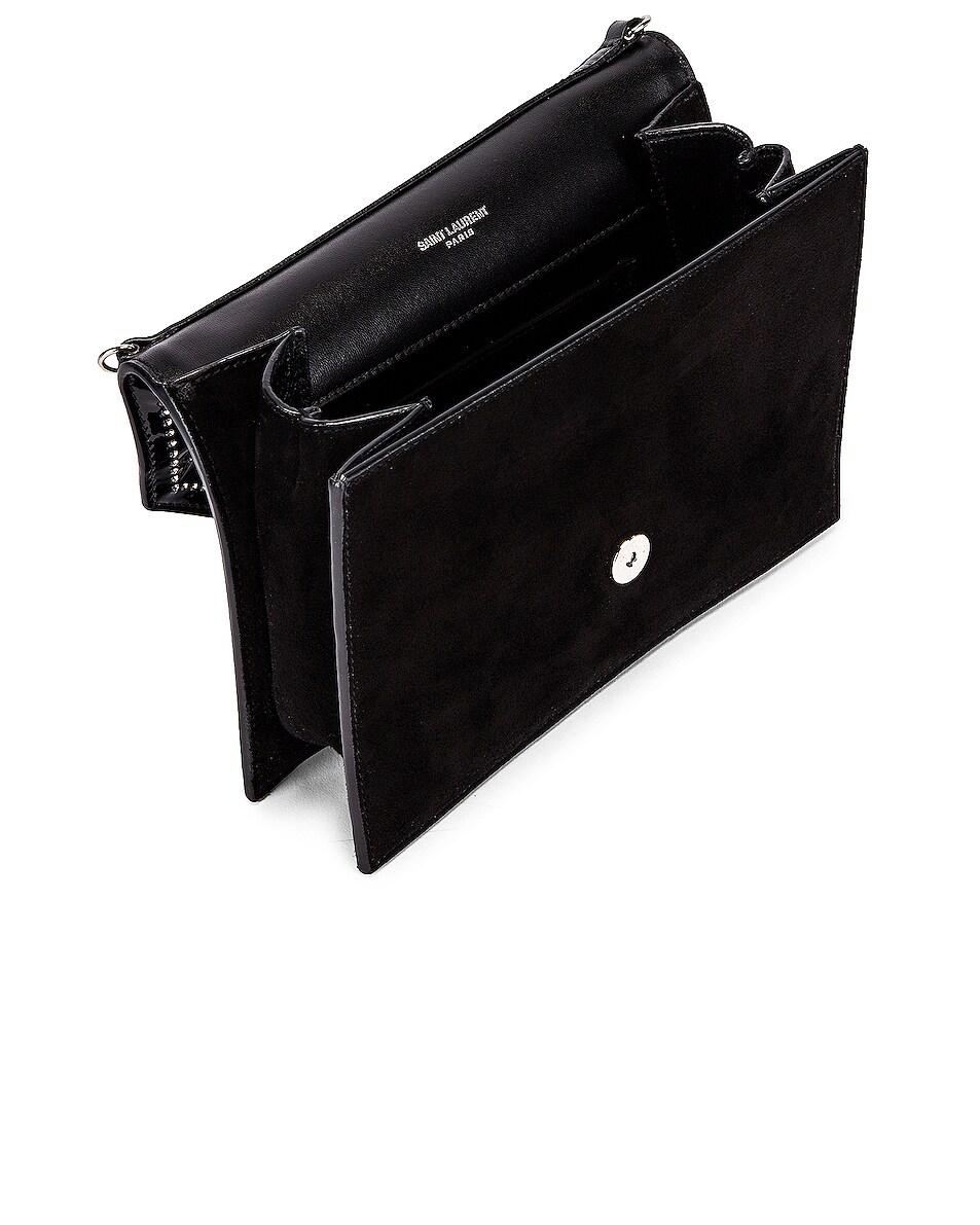Image 5 of Saint Laurent 80s Chain Bag in Black & Crystal