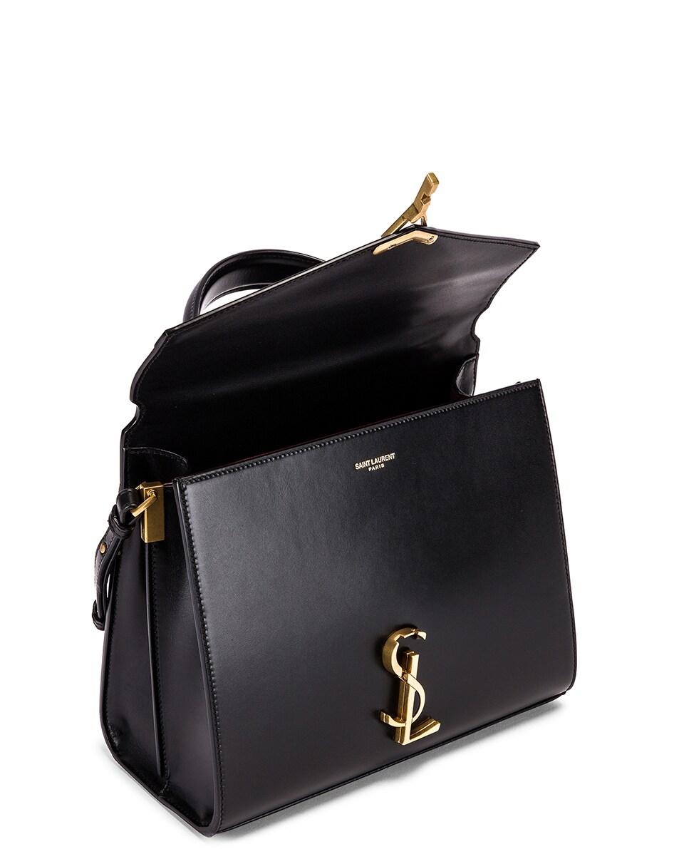 Image 5 of Saint Laurent Cassandra Monogramme Bag in Black & Rouge Legion