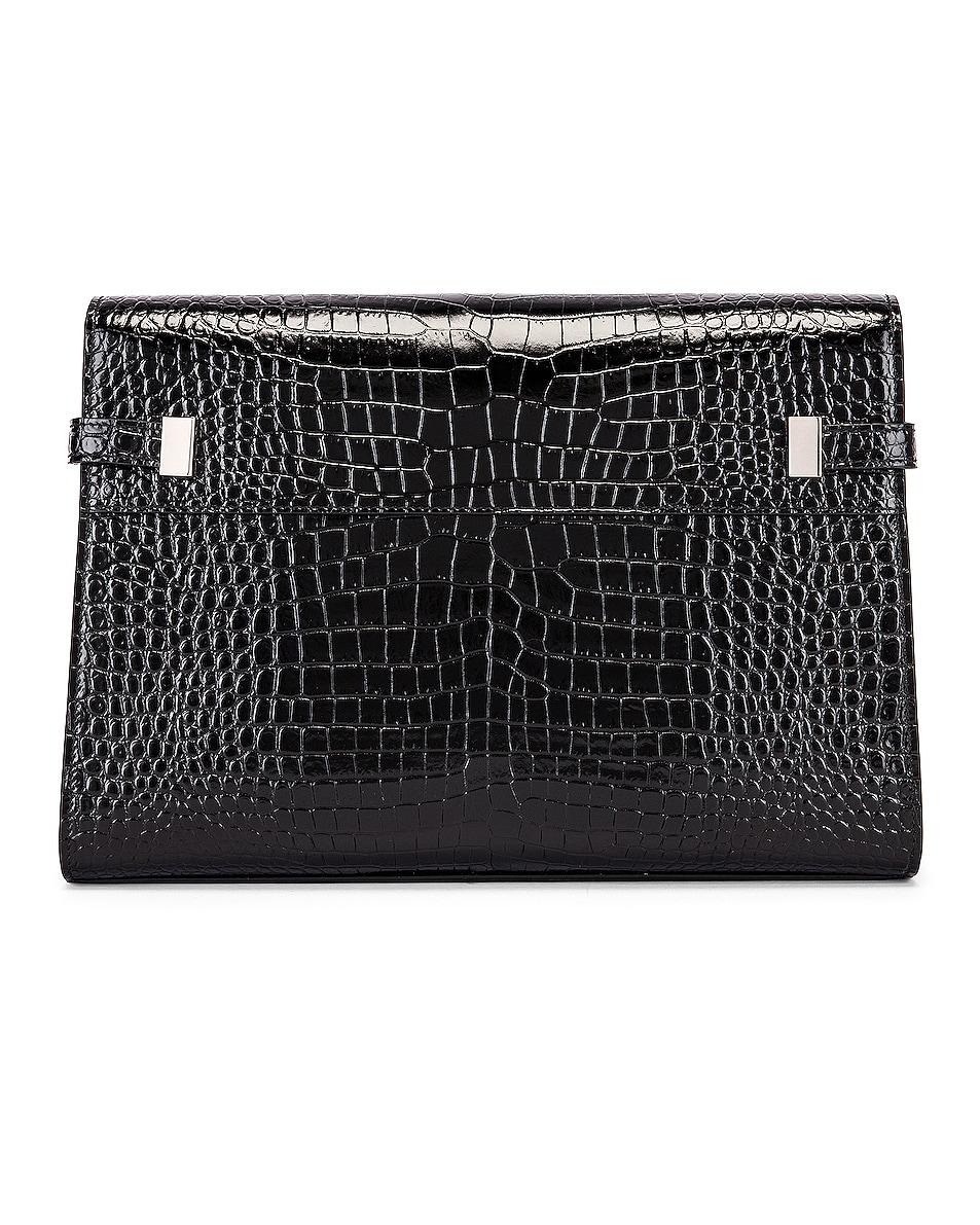 Image 3 of Saint Laurent Manhattan Croc Shoulder Bag in Black