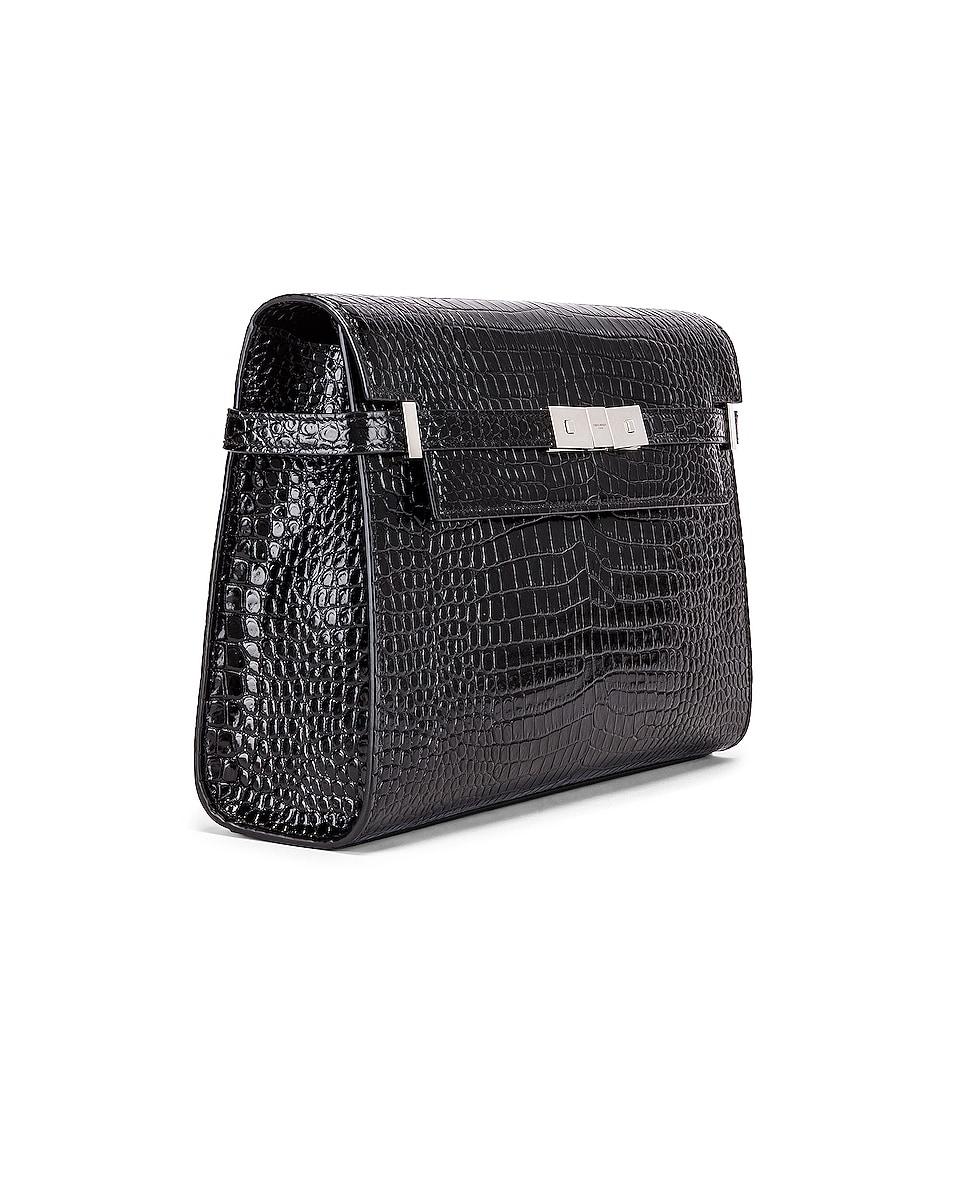 Image 4 of Saint Laurent Manhattan Croc Shoulder Bag in Black