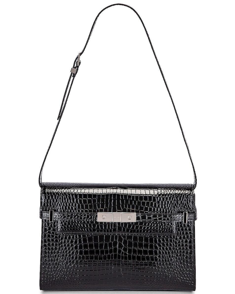 Image 6 of Saint Laurent Manhattan Croc Shoulder Bag in Black