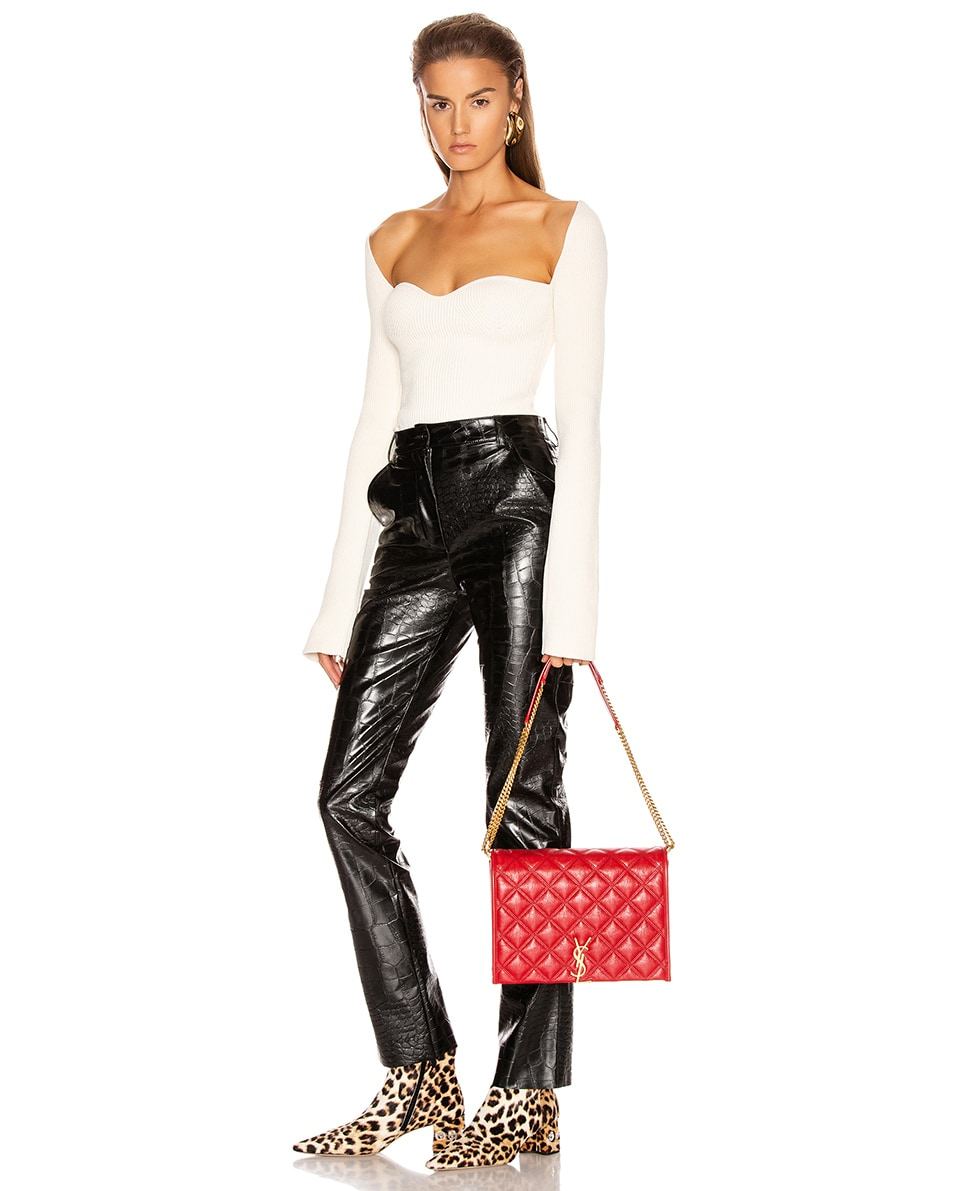 Image 2 of Saint Laurent Small Becky Bag in Rouge Eros