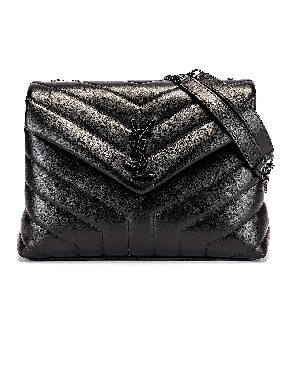 Image 1 of Saint Laurent Small Supple Monogramme Loulou Chain Bag in Black & Black