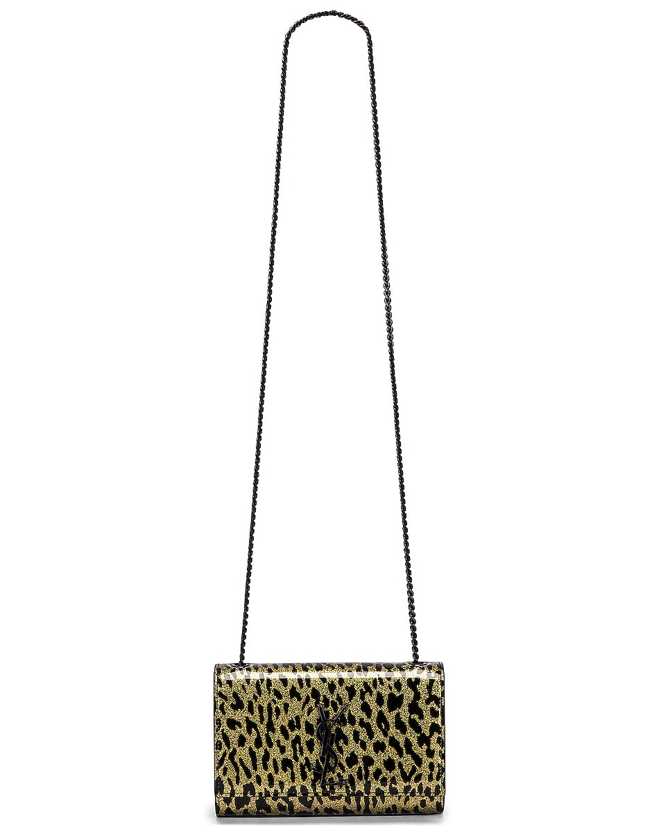 Image 6 of Saint Laurent Kate Monogramme Sparkle Bag in Light Gold & Black